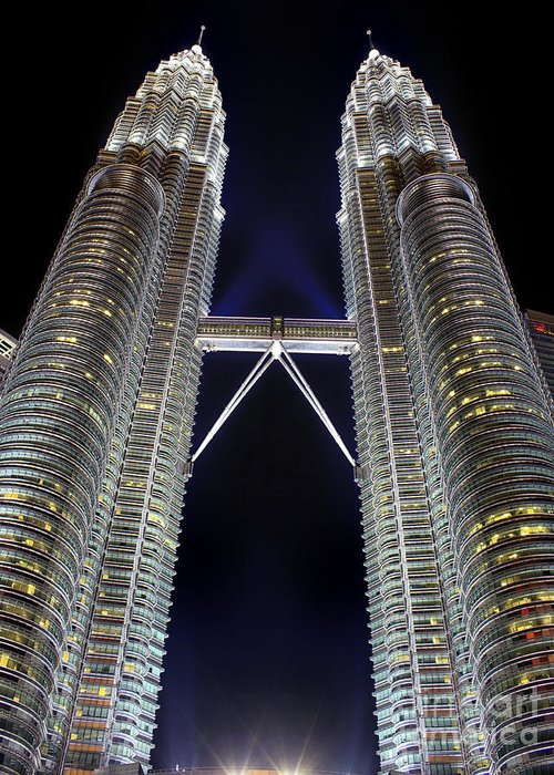 Architecture Greeting Card featuring the photograph Petronas Towers by Christos Koudellaris