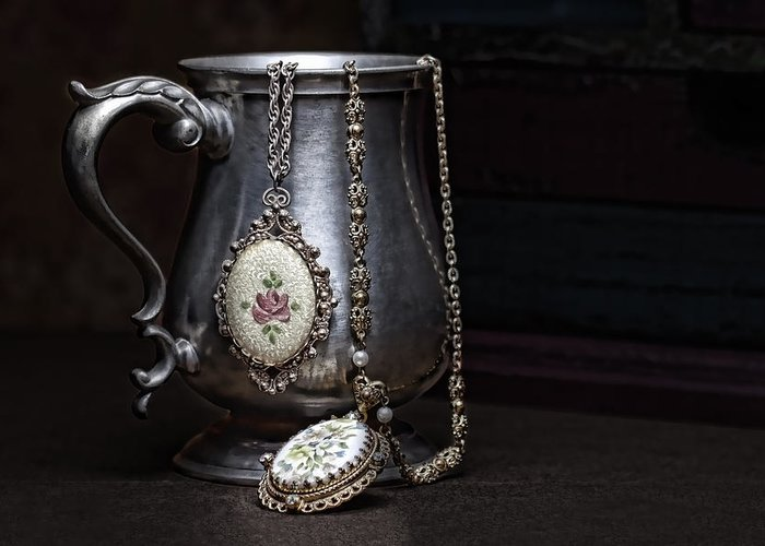 Jewelry Greeting Card featuring the photograph Pewter Cup Still Life by Tom Mc Nemar