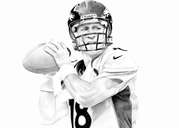Manning Greeting Card featuring the drawing Peyton Manning by Don Medina