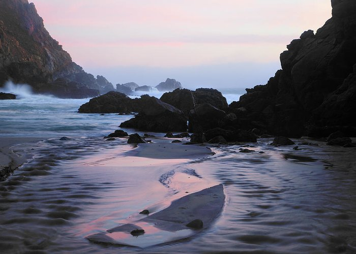 Water's Edge Greeting Card featuring the photograph Pfeiffer Beach Rocks, Purple Sand And by Terryfic3d