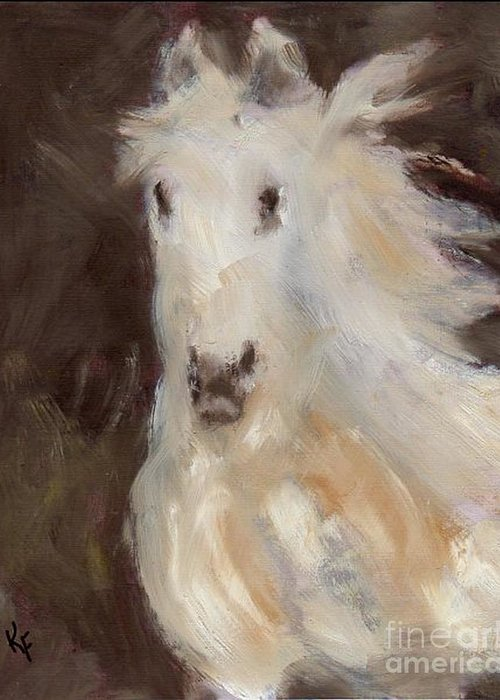 Horse Greeting Card featuring the painting Phantom by Kathleen Farmer