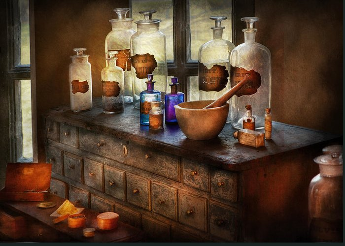 Doctor Greeting Card featuring the photograph Pharmacist - Medicinal Equipment by Mike Savad