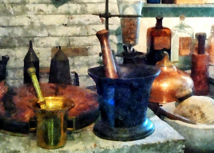 Drugstore Greeting Card featuring the photograph Pharmacist - Three Mortar And Pestles by Susan Savad