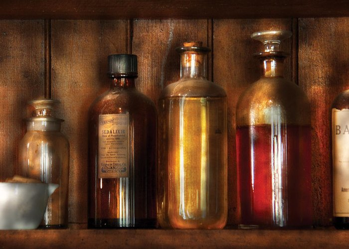 Savad Greeting Card featuring the photograph Pharmacist - Various Elixirs by Mike Savad