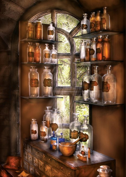 Pharmacy Greeting Card featuring the photograph Pharmacist - Various Potions by Mike Savad