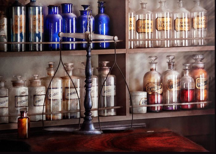 Pharmaceutical Greeting Card featuring the photograph Pharmacy - Apothecarius by Mike Savad