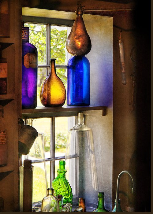Hdr Greeting Card featuring the photograph Pharmacy - Colorful Glassware by Mike Savad