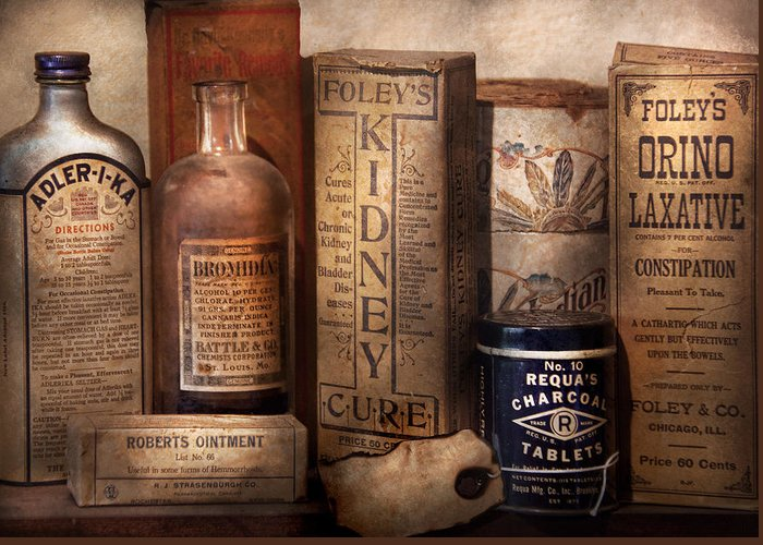 Savad Greeting Card featuring the photograph Pharmacy - Cures For The Bowels by Mike Savad