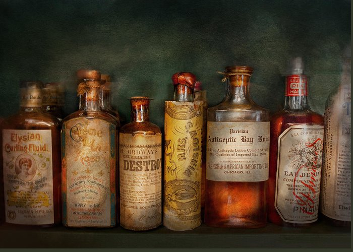 Hdr Greeting Card featuring the photograph Pharmacy - Daily Remedies by Mike Savad