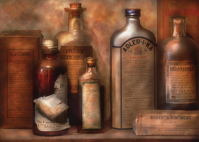 Doctor Greeting Card featuring the photograph Pharmacy - Indigestion Remedies by Mike Savad