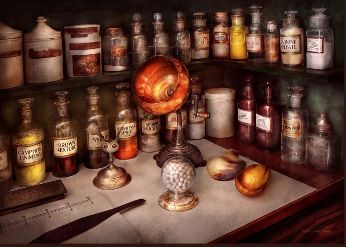 Hdr Greeting Card featuring the photograph Pharmacy - Items From The Specialist by Mike Savad