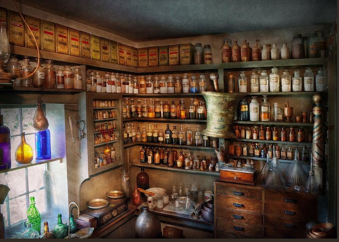 Hdr Greeting Card featuring the photograph Pharmacy - Medicinal Chemistry by Mike Savad