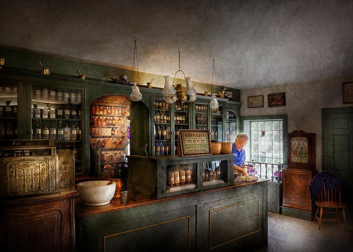 Doctor Greeting Card featuring the photograph Pharmacy - Morning Preparations by Mike Savad
