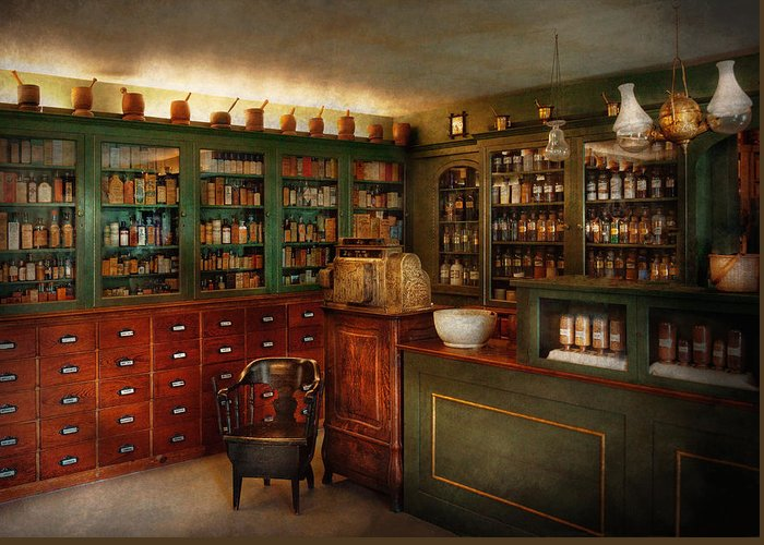 Pharmacy Greeting Card featuring the photograph Pharmacy - Patent Medicine by Mike Savad