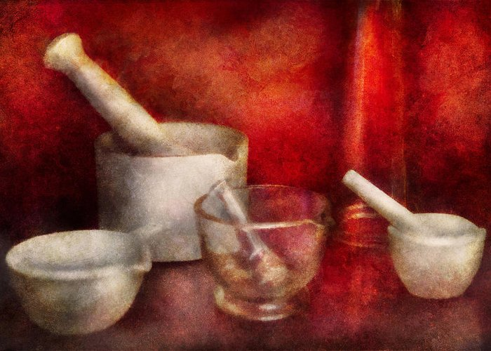 Doctor Greeting Card featuring the photograph Pharmacy - Pestle - Endless Variety by Mike Savad
