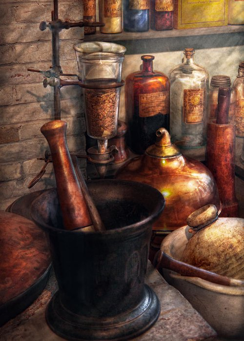 Doctor Greeting Card featuring the photograph Pharmacy - Pestle - Pharmacology by Mike Savad