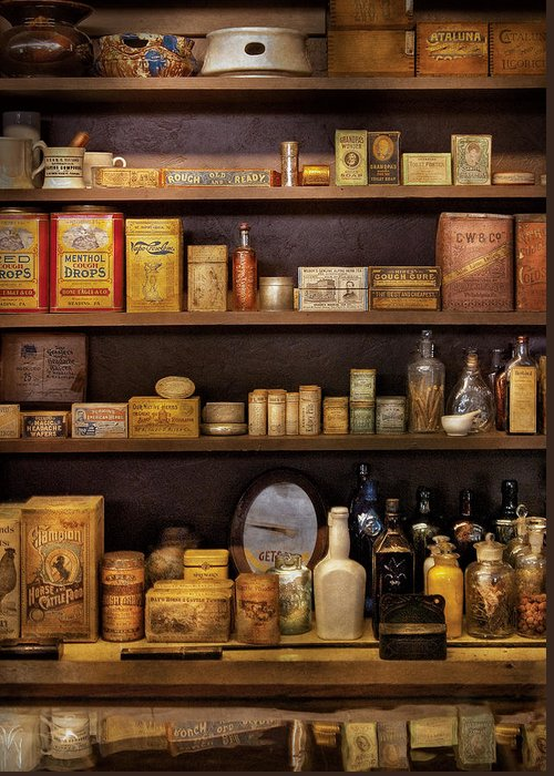 Pharmacy Greeting Card featuring the photograph Pharmacy - Quick I Need A Miracle Cure by Mike Savad
