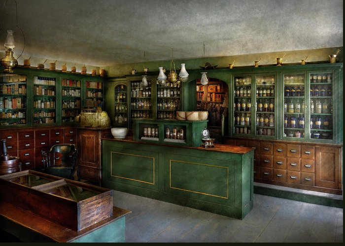 Apothecary Greeting Card featuring the photograph Pharmacy - The Chemist Shop by Mike Savad