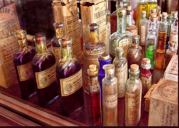 Hdr Greeting Card featuring the photograph Pharmacy - The Selection by Mike Savad