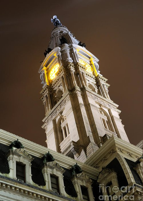 Philadelphia Greeting Card featuring the photograph Philadelphia City Hall Clock Tower At Night by Gary Whitton