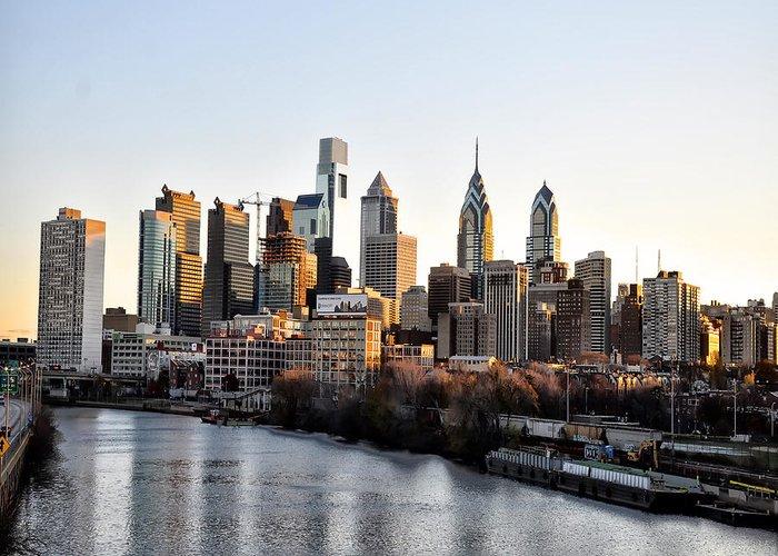 Philadelphia In The Morning Light Greeting Card featuring the photograph Philadelphia In The Morning Light by Bill Cannon