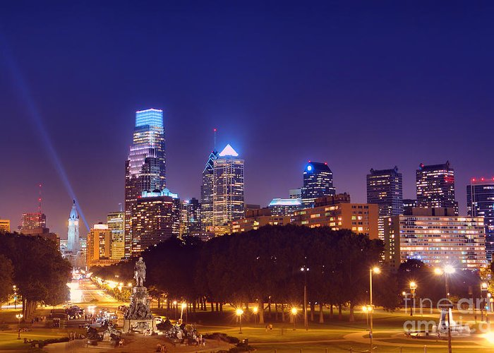 Philadelphia Greeting Card featuring the photograph Philadelphia Nightscape by Olivier Le Queinec