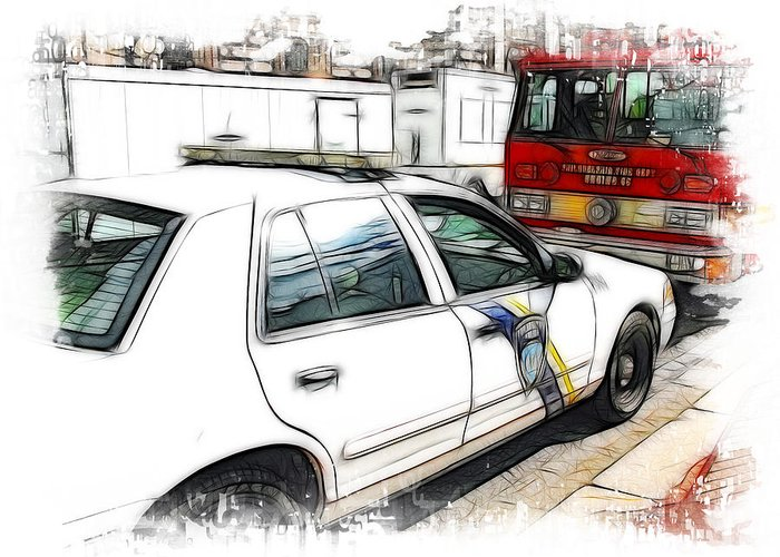 911 Greeting Card featuring the photograph Philadelphia Police Car by Fiona Messenger