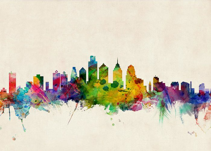 Watercolour Greeting Card featuring the digital art Philadelphia Skyline by Michael Tompsett
