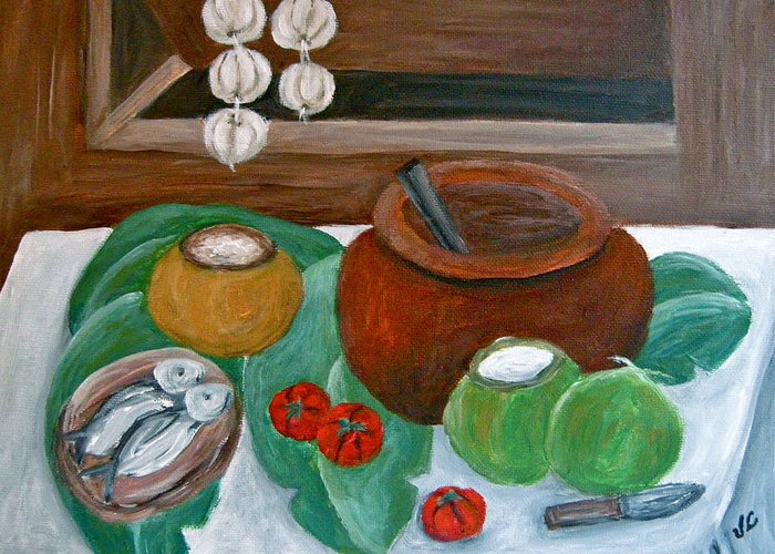 Still Life With Fish Greeting Card featuring the painting Philippine Still Life With Fish And Coconuts by Victoria Lakes