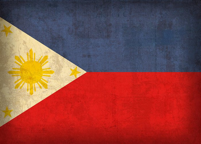 Philippines Greeting Card featuring the mixed media Philippines Flag Vintage Distressed Finish by Design Turnpike
