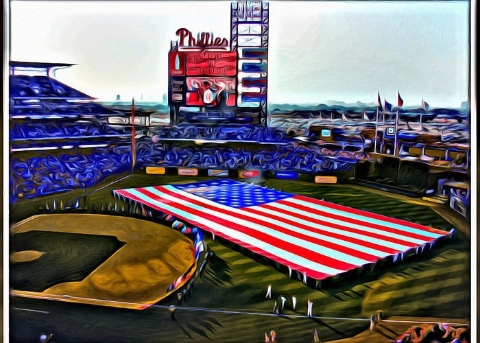 American Flag Phillies Stadium Scenic Citizens Bank Philadelphia Alicegipsonphotographs Greeting Card featuring the photograph Phillies American by Alice Gipson