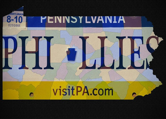 Phillies License Plate Map Greeting Card featuring the photograph Phillies License Plate Map by Bill Cannon