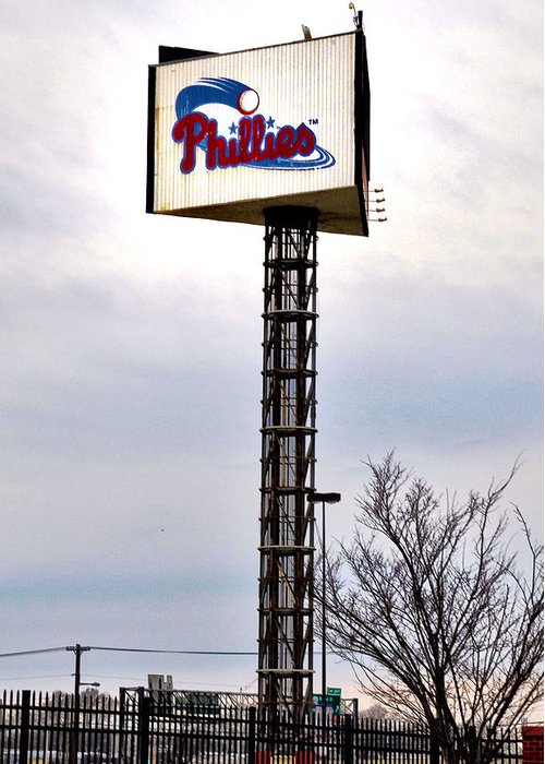 Phillies Greeting Card featuring the photograph Phillies Stadium Sign by Bill Cannon