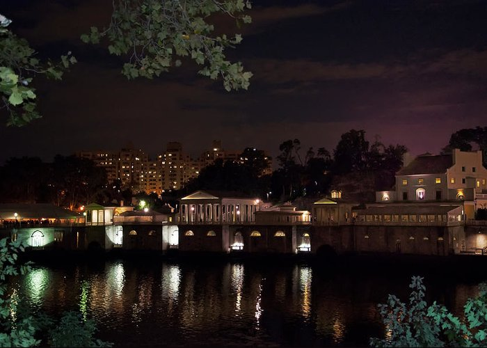 Philly Greeting Card featuring the photograph Philly Waterworks At Night by Bill Cannon