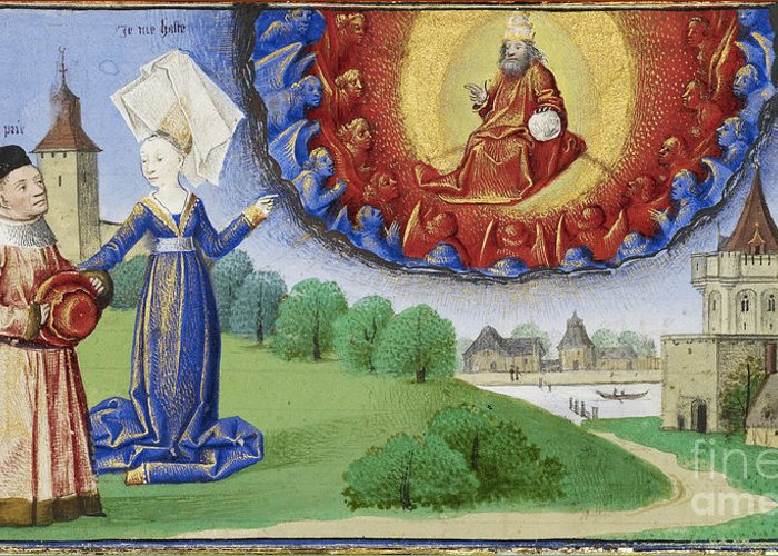 Boethius Greeting Card featuring the photograph Philosophy Instructs Boethius On God by Getty Research Institute