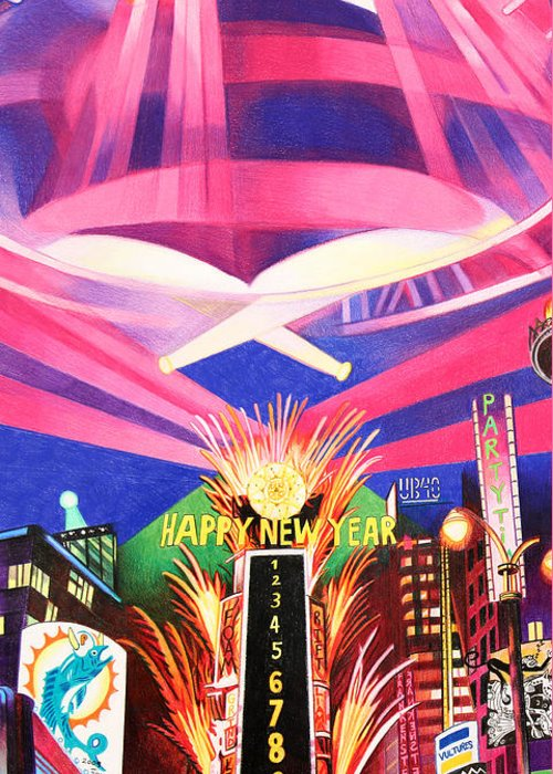 Phish Greeting Card featuring the drawing Phish New Years In New York Middle by Joshua Morton