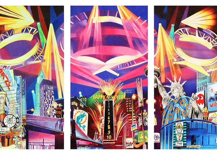 Phish Greeting Card featuring the drawing Phish New York For New Years Triptych by Joshua Morton