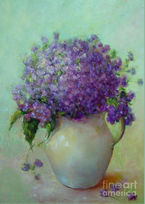 Floral Painting Greeting Card featuring the painting Phlox     Copyrighted by Kathleen Hoekstra