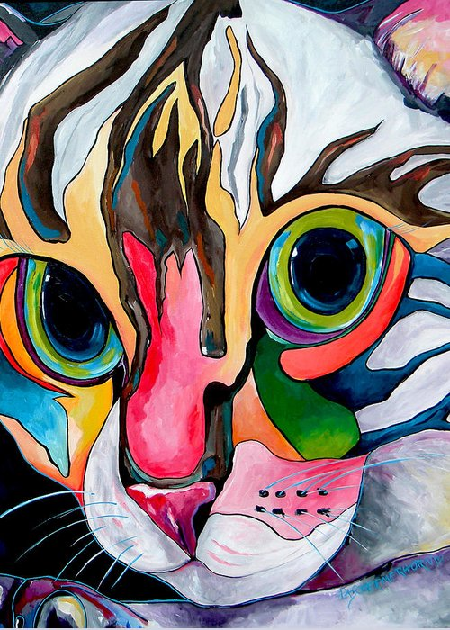 Cat Greeting Card featuring the painting Phoebe Blu by Patti Schermerhorn