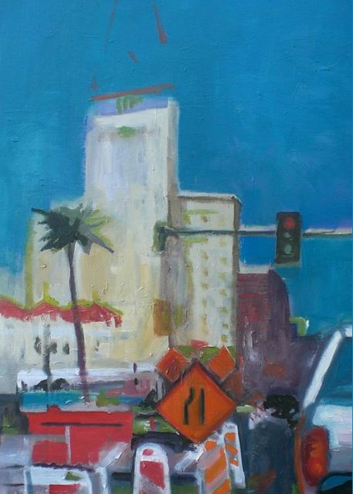 Greeting Card featuring the painting Phoenix Downtown by Aleksandra Buha