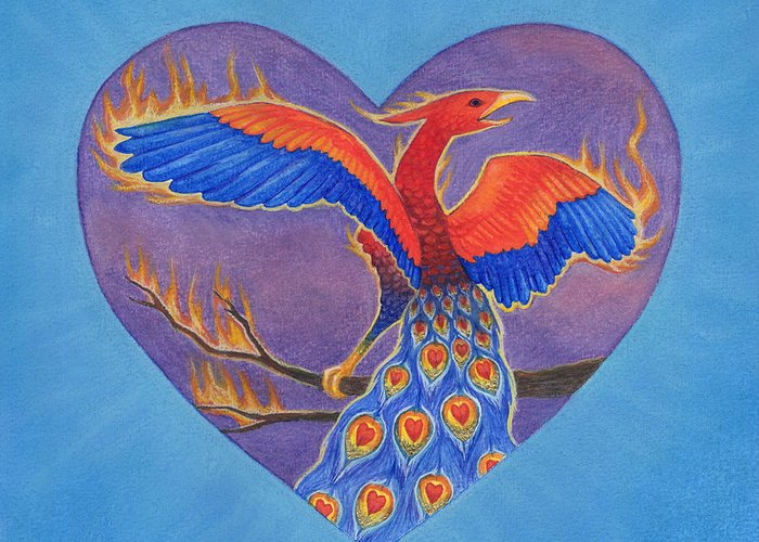 Heart Greeting Card featuring the painting Phoenix by Lisa Kretchman