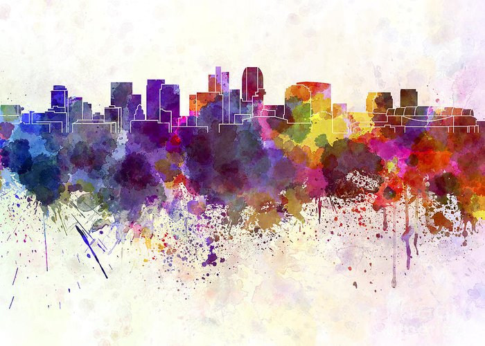 Phoenix Skyline Greeting Card featuring the painting Phoenix Skyline In Watercolor Background by Pablo Romero