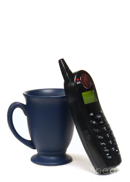 Phone Greeting Card featuring the photograph Phone Call Over Coffee by Olivier Le Queinec