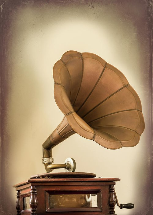 Music Greeting Card featuring the photograph Phonograph Record Player by Gary S Chapman