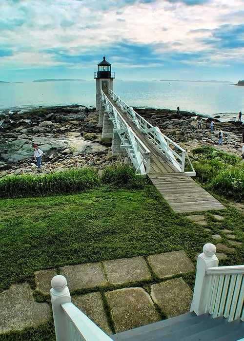 Lighthouse Greeting Card featuring the photograph Photographers On The Rocks by Carolyn Fletcher