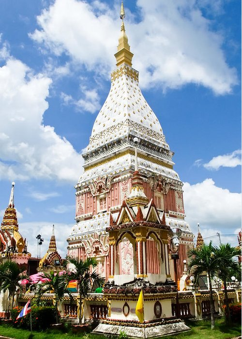Nakhon Phanom Greeting Card featuring the photograph Phra That Raynu In Nako Phanom Thailandhon Phanomthailand by Ammar Mas-oo-di