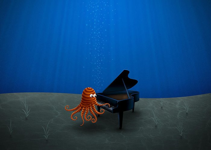 Octopus Greeting Card featuring the drawing Piano Playing Octopus by Gianfranco Weiss
