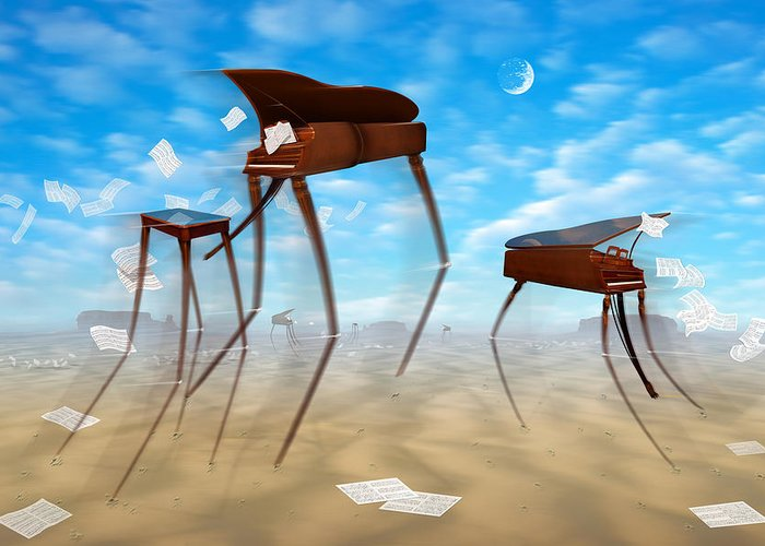 Surrealism Greeting Card featuring the photograph Piano Valley by Mike McGlothlen