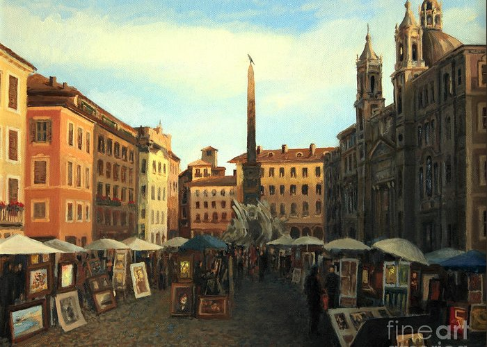 Ancient Greeting Card featuring the painting Piazza Navona In Rome by Kiril Stanchev