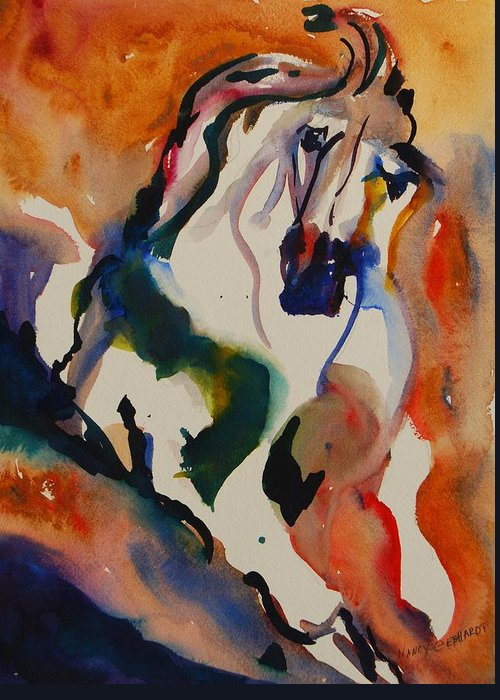Horse Greeting Card featuring the painting Picasso by Nancy Gebhardt